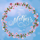 cartão do dia de mães Fundo da árvore da flor, feriados da mola Imagens de Stock Royalty Free