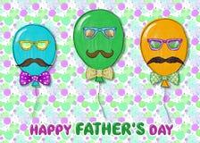 Cartão do dia de pais com balões, bigode e laços ilustração stock