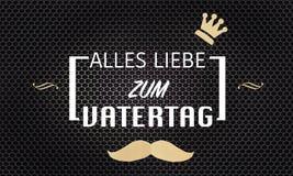 Cartão do dia de pais no alemão no fundo metálico preto da grade Ilustração Stock