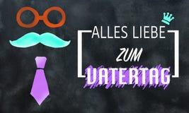 Cartão do dia de pais no alemão no preto Ilustração Royalty Free