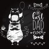 Cartão do dia de pais no quadro-negro Fotografia de Stock Royalty Free