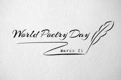 Cartão do dia de poesia de mundo com pena Fotografia de Stock