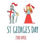 Cartão do dia de StGeorge com cavaleiro e princesa, ilustração do vetor