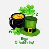 Cartão do dia de Stpatrick com chapéu, moedas e Foto de Stock Royalty Free