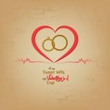 Cartão do dia de Valentim com anéis Imagem de Stock