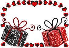 Cartão do dia de Valentim com caixas de presente Foto de Stock Royalty Free