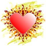 Cartão do dia de Valentim com coração das flores no backg do grunge foto de stock