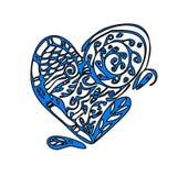Cartão do dia de Valentim com coração grande do zentagle Fotografia de Stock Royalty Free