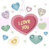 Cartão do dia de Valentim com corações Fotos de Stock