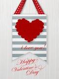 Cartão do dia de Valentim com corações e palavras do amor Imagens de Stock