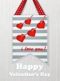 Cartão do dia de Valentim com corações e palavras do amor Imagem de Stock Royalty Free