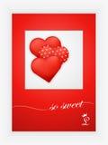 Cartão do dia de Valentim com corações e palavras do amor no fundo branco Fotos de Stock