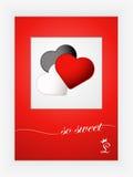 Cartão do dia de Valentim com corações e palavras do amor no fundo branco Imagens de Stock Royalty Free