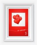 Cartão do dia de Valentim com corações e palavras do amor no quadro branco Imagem de Stock
