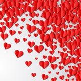 Cartão do dia de Valentim com corações de papel cortados ilustração stock