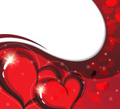 Cartão do dia de Valentim com corações sparkling Imagem de Stock Royalty Free