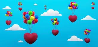 Cartão do dia de Valentim com corações do voo e os balões coloridos 3d para render ilustração royalty free