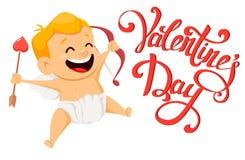 Cartão do dia de Valentim com cupido bonito e letra feito a mão Foto de Stock Royalty Free