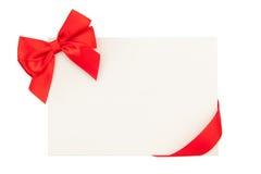 Cartão do dia de Valentim com fita vermelha Fotos de Stock