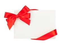 Cartão do dia de Valentim com fita vermelha Foto de Stock Royalty Free