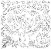 Cartão do dia de Valentim com gatos e corações Imagens de Stock Royalty Free