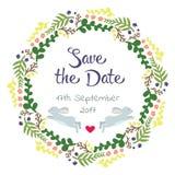 Cartão do dia de Valentim com grinalda Rotulação do amor Aperfeiçoe para, etiquetas, aniversário, salvar o convite da data Fotografia de Stock Royalty Free