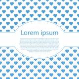 Cartão do dia de Valentim com muitos corações azuis e quadro de texto oval Imagens de Stock Royalty Free