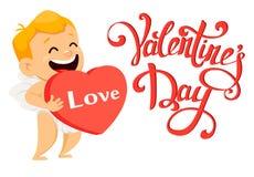 Cartão do dia de Valentim com o cupido bonito que guarda o hea vermelho grande Fotografia de Stock Royalty Free