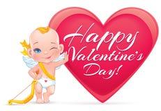 Cartão do dia de Valentim com o cupido pequeno do bebê Fotos de Stock