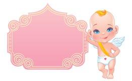 Cartão do dia de Valentim com o cupido pequeno do bebê Fotografia de Stock