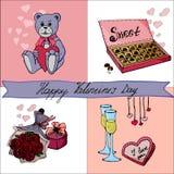 Cartão do dia de Valentim com rotulação e garatujas ilustração royalty free