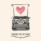 Cartão do dia de Valentim com rotulação, máquina de escrever, coração Foto de Stock