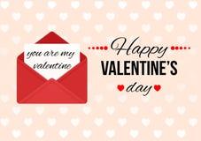 Cartão do dia de Valentim com texto feliz do dia de Valentim Imagens de Stock