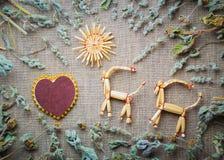 Cartão do dia de Valentim com uma palha Fotos de Stock Royalty Free
