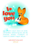 Cartão do dia de Valentim com uma raposa Imagens de Stock
