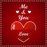 Cartão do dia de Valentim - coração grande com inscrição Fotos de Stock Royalty Free