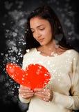 Cartão do dia de Valentim da leitura da menina Imagens de Stock Royalty Free
