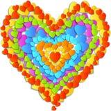 Cartão do dia de Valentim do vetor com coração do arco-íris Fotos de Stock Royalty Free