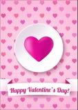 Cartão do dia de Valentim em um fundo cor-de-rosa com texto feliz do dia de Valentim Ilustração do vetor Fotografia de Stock Royalty Free