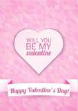 Cartão do dia de Valentim em um fundo cor-de-rosa do mosaico com texto feliz do dia de Valentim Ilustração do vetor Imagem de Stock