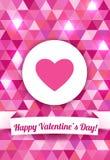 Cartão do dia de Valentim em um fundo triangular cor-de-rosa com texto feliz do dia de Valentim Ilustração do vetor Fotos de Stock