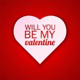 Cartão do dia de Valentim em um fundo vermelho brilhante com vontade você seja meu texto do Valentim Ilustração do vetor Imagens de Stock Royalty Free