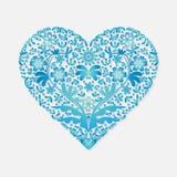 Cartão do dia de Valentim para o coração azul das felicitações em um fundo claro ilustração do vetor