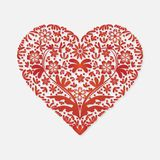 Cartão do dia de Valentim para o coração vermelho das felicitações em um fundo claro ilustração royalty free