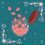 Cartão do dia de Valentim do vetor com quadro nos cantos ilustração do vetor