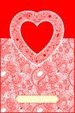 Cartão do dia de Valentin com coração Fotos de Stock Royalty Free