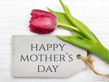 Cartão do dia do ` s da mãe com tulipa Fotos de Stock Royalty Free