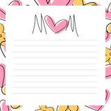 Cartão do dia do ` s da mãe - mensagem Imagens de Stock Royalty Free