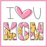 Cartão do dia do ` s da mãe - mensagem Imagem de Stock