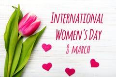 Cartão do dia do ` s das mulheres Foto de Stock